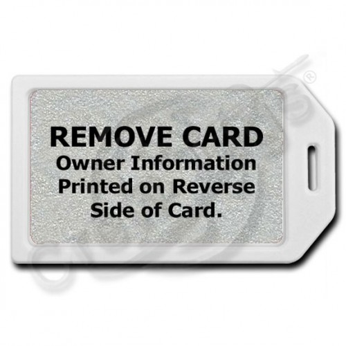 PRIVACY PROTECTION LUGGAGE TAG - WHITE CASE WITH SILVER INSERT